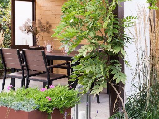 Nowoczesny ogród z altaną